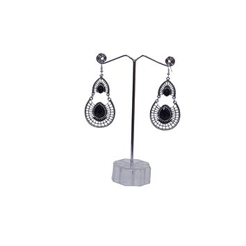 Antique Silver Created Black Onyx Teardrop Earrings with Secure Wire and Hook Backs