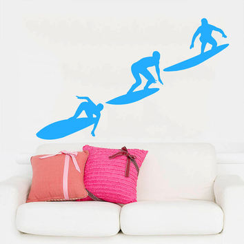 Wall Decal Vinyl Sticker Decals Art Home Decor Design Mural Surfer Surfboard Waves Sea Beach Extreme Sports Gift Kids Dorm Art Bedroom AN254