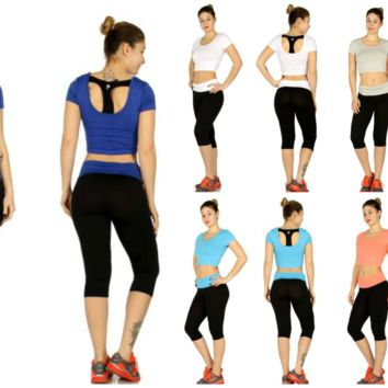 Sports Crop Top and Capri Yoga Pants set in 3 Colors in Sizes S/M, L/XL and 2X/3
