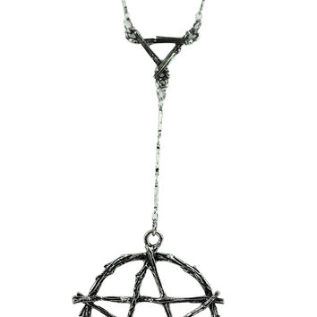 Gothic Witch Occult Wiccan Branch Pentagram Necklace