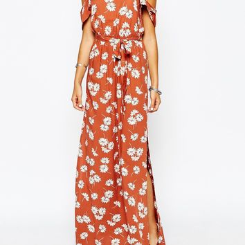 New Look Cold Shoulder Maxi DAisy Print Dress
