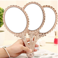 Portable Vintage Cosmetic Makeup Mirror Hand Hold Oval Round Mirror Noble Restore Ancient Ways Court Mirror Beauty Tool 2017