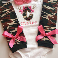 Baby Girl CAMO Hunting outfit - newborn outfit - personalized baby camo outfit - camo legwarmers