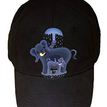 'Elephant Showers' Cute Mom & Baby Trunk Squirting - 100% Cotton Adjustable Hat