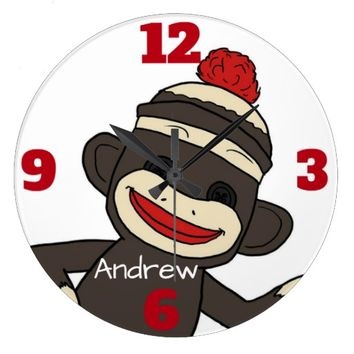 Sock Monkey CUSTOMIZABLE MONOGRAM WALL CLOCK