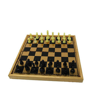 Vintage Chess Checkers Set / Travel Size Chest / Executive Travel Game / Family Fun Night