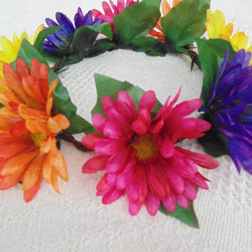 Daisy Flower Crown Orange, Yellow, Purple, Pink Gerbera Daisies Tiara Headdress Wreath Decor