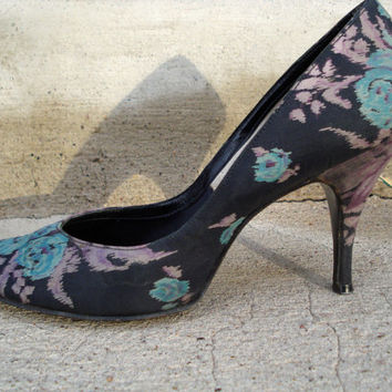Vintage 1950s Stiletto Shoes Silk Floral Print Size 7 8 2013586