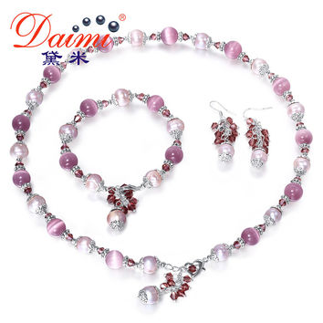 DAIMI 9-10 mm Pearl Sets Natural Freshwater Agate Green Jade Cats Eyes Stone Turquoise Necklace Bracelet Earrings Jewelry Sets