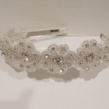 Bridal Floral Rhinestone Headpiece Bridal by BellaCescaBoutique