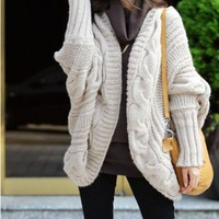 Beige Cable Knit Cardigan with Batwing Sleeves