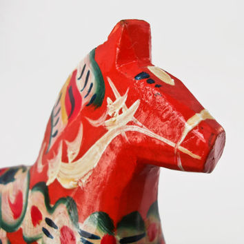 Vintage Dala Horse Olsson Rosemaling Red Orange Wooden Swedish Folk Art Sweden Wood Home Decor Christmas Hand Painted Authentic Dalahasten