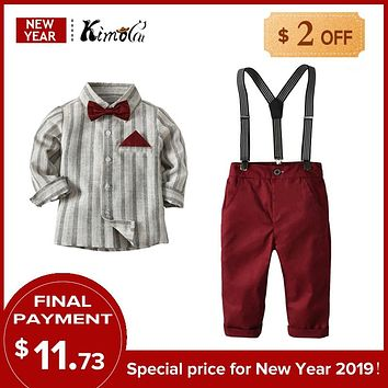 Kimocat Korean Fashion Boy Gentleman Suit Striped Shirt+Bow Tie+Suspender Pants 3Pcs Kid Clothing Formal Clothes Pocket Square