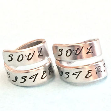 Soul Sisters - Aluminum Spiral Ring Set,  Sorority Sisters, Best Friends  Jewelry