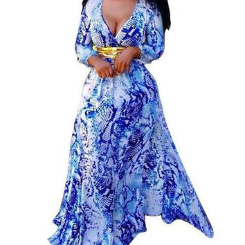 Blue V-neck Floral Print Maxi Dress