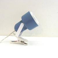 Vintage blue Modern Clip Spotlight Lamp // Light with clamp