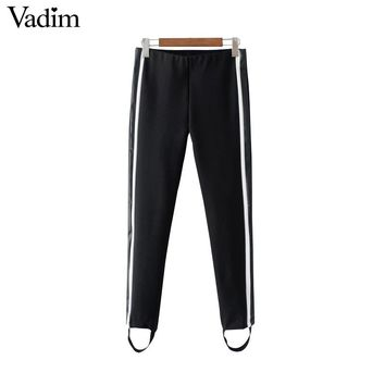 Leather patchwork side stripe skinny pants elastic waist ladies casual ankle length trousers