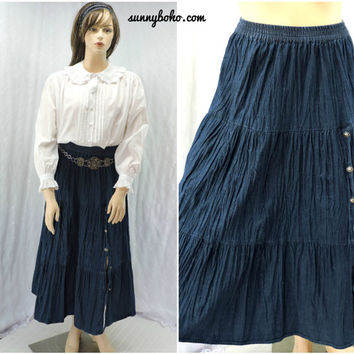 Vintage 90s denim maxi skirt L / XL country western denim broomstick skirt boho long full circle jean skirt SunnyBohoVintage