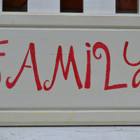 Upcycled cabinet door painted with word FAMILY in red mantle decor home decor