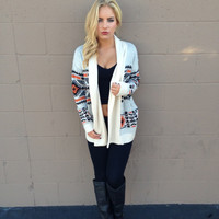 Orange & Black Aztec Knit Cardigan