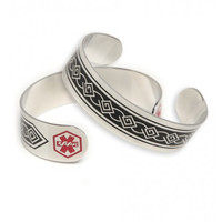Cuff Medical ID Bracelet with Tribal Design