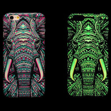 So Cool Night King Elephant Animal Handmade Carving Luminous Light Up iPhone Cases for 5S 6 6S Plus Free Shipping