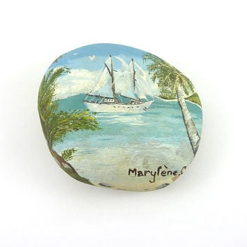 Decorative stone painted in oil painting : Yacht in the tropics - by Savousepate