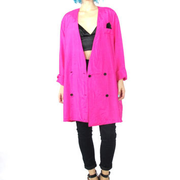 80s Pink Silk Blazer Slouchy Oversize Boyfriend Blazer Neon Hot Silk Blouse Button up Lightweight Womens Plus Size Tuxedo Jacket (L/XL)