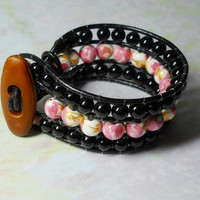 Wrap bracelet, pink and black beads, Black Leather cord Jewelry handmade Sunny, Handmade in the USA one of a kind, Sanibel Island Florida
