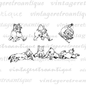 Printable Wrestling Bear Cubs Graphic Digital Collage Sheet Image Download Vintage Clip Art Jpg Png Eps  HQ 300dpi No.950