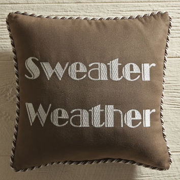 Sweater Weather Embroidered Pillow