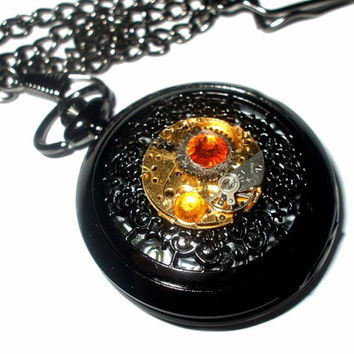 Black Sunburst Steampunk Pocket Watch with Vintage Watch Movement, Gunmetal Fob Chain, Battery Operated, Quartz Watch, OOAK, Clockwork