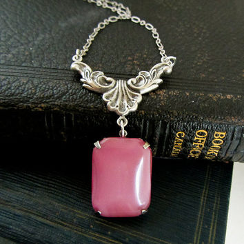 Soft Rose Pink Moonstone Necklace Victorian Statement necklace Baroque Jewelry