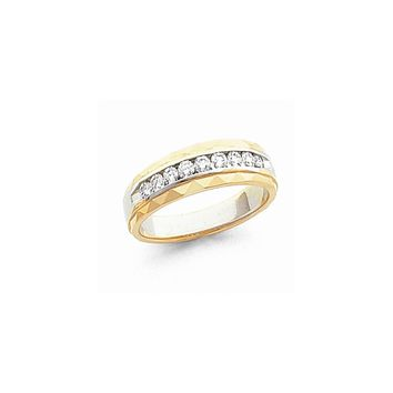 14k Two-tone Gold Diamond Men's Band Ring SI2/SI3 Clarity and G/I Color