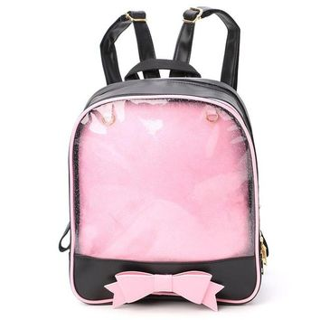 Girls bookbag Girls Women Sweet Cute Transparent Small Backpack Candy Color Student School Bag Bookbags Famous Brands THINKTHENDO AT_52_3