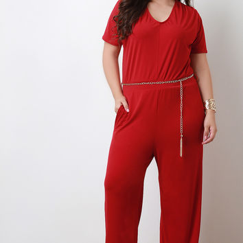 Chain Belt Straight Leg Jumpsuit