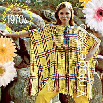 DIGITAL PATTERN •  Poncho Crochet Pattern • PdF Pattern • 1970s Vintage Plaid Poncho • Striped • Fun • one size fits all