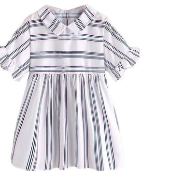 Cute Shirt Stripe Frill Cuff Women Beige Tops Baby doll Casual Tunic Blouse