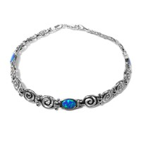 Sterling Silver Rhodium Plated Greek Spira Bracelet and Synthetic Opal, 7.25""