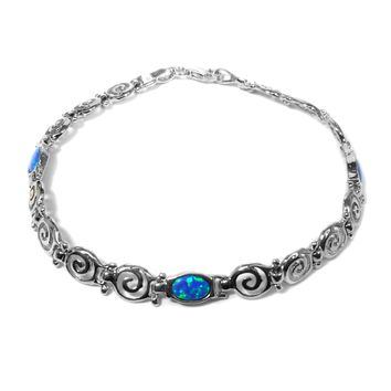 """Sterling Silver Rhodium Plated Greek Spira Bracelet and Synthetic Opal, 7.25"""""""