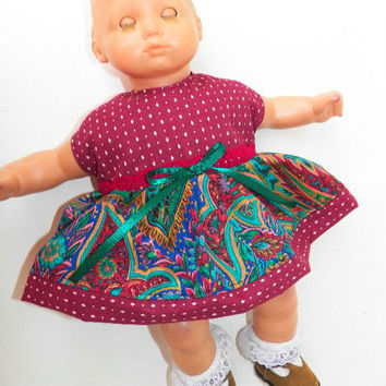 "Bitty Baby Clothes American Girl 15"" Girl Red and Green Paisley Print Sleeveless Dress Fall Autumn Thanksgiving!"