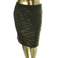 NY Collection Womens Metallic Textured Pencil Skirt
