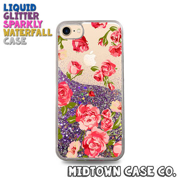 Red & Pink Roses Vintage Floral Pattern Cute Liquid Glitter Waterfall Quicksand Sparkles Glitter Bomb Bling Case for iPhone 7 7 Plus 6s 6
