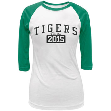 Graduation - Tigers Class of 2015 White/Kelly Green Juniors 3/4 Raglan T-Shirt