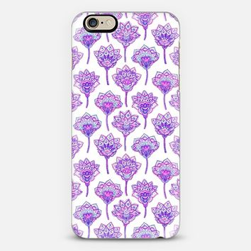Purple Lotus Doodle Flowers iPhone 6 case by Micklyn Le Feuvre | Casetify