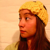 Crochet Wide Headband With Bow by p4pministry on Etsy