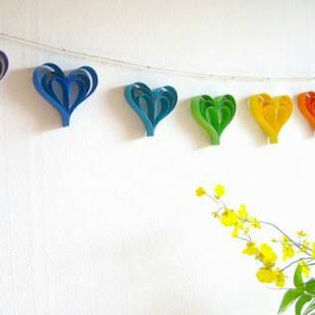 Handmade heart garland, heart garland, wedding garland, wedding decoration, party decoration, paper heart garland, paper garland, rainbow