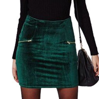 Velvet High Waist Skirt Zipper Pocket 2017 New Fashion Autumn Winter Style Women Clothing Sexy Pencil Mini Skirts