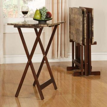 Snack Tray Stand TV Table Faux Marble Side Coffee Drink Console Sofa Wood Brown