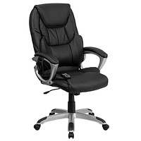 High Back Massaging Leather Executive Swivel Office Chair with Base